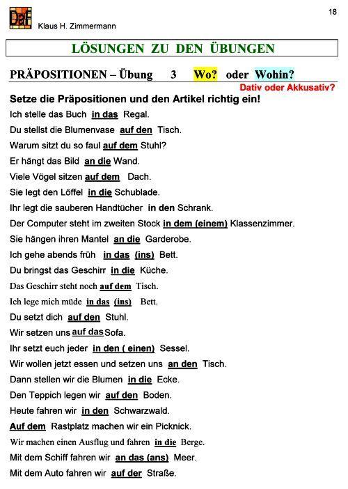 Deutsch als Fremdsprache DaF DaZ Grammatik - Präpositionen